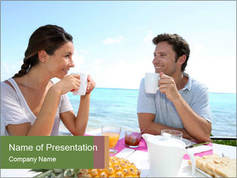 Just Married Couple Drinking Coffee PowerPoint Template - Slide 1