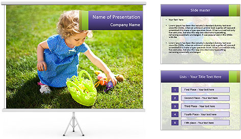 Girl playing on the grass PowerPoint Template