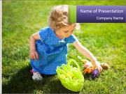 Girl playing on the grass PowerPoint Templates