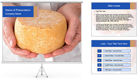 Fresh cheese in the hands PowerPoint Template