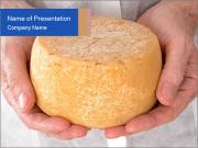 Fresh cheese in the hands PowerPoint Templates