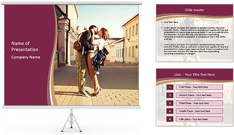 Couple kissing PowerPoint Template