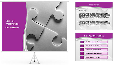 Gray puzzle PowerPoint Template
