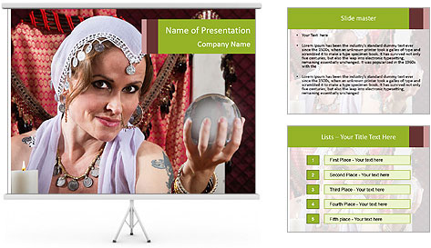 Woman With Crystall Ball PowerPoint Template