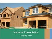 Two beautiful houses made of red brick. PowerPoint Template