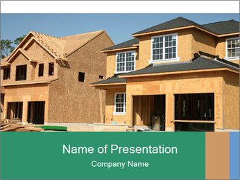 Two beautiful houses made of red brick. PowerPoint Template - Slide 1