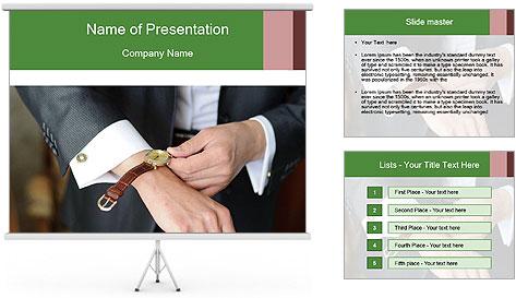 Businessman dress favorite watch. PowerPoint Template