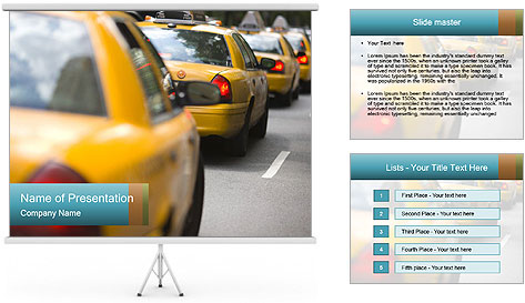 The line of yellow taxis. PowerPoint Template