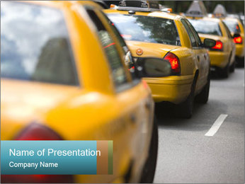 The line of yellow taxis. PowerPoint Template - Slide 1