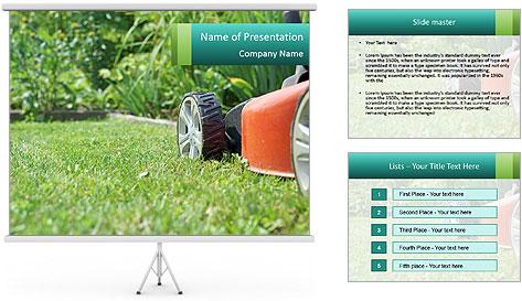 Green Grass In Garden PowerPoint Template