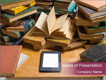 Tablet VS Books PowerPoint Template - Slide 1