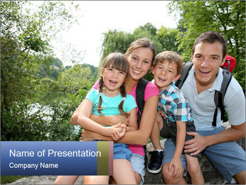 Family Hiking PowerPoint Template - Slide 1
