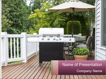 Place For Barbecue Cooker PowerPoint Template - Slide 1