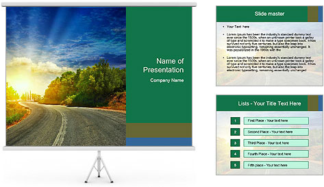 Sunlight And Road PowerPoint Template