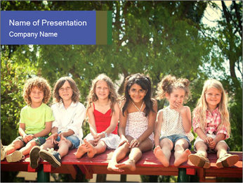 Group Of Girls PowerPoint Template - Slide 1