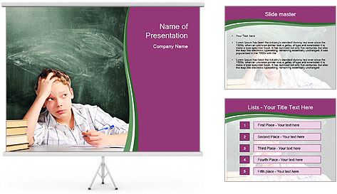 Thinking Schoolboy PowerPoint Template