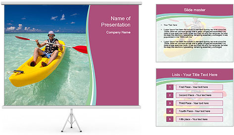 Yellow Kayak Boat PowerPoint Template