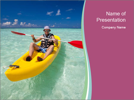 Yellow Kayak Boat PowerPoint Templates