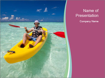 Yellow Kayak Boat PowerPoint Template - Slide 1