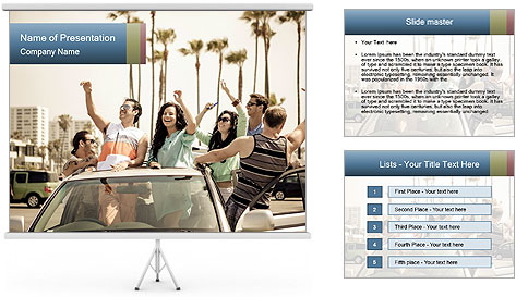 Friends Driving Car In LA PowerPoint Template