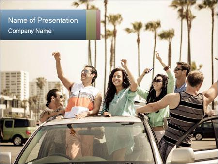 Friends Driving Car In LA PowerPoint Templates