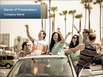 Friends Driving Car In LA PowerPoint Template - Slide 1