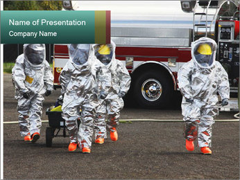 Men Wearing Protective Equipment PowerPoint Template - Slide 1