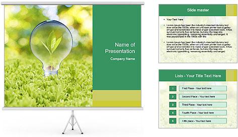 Green Light Bulb PowerPoint Template