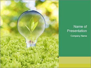 Green Light Bulb PowerPoint Template - Slide 1