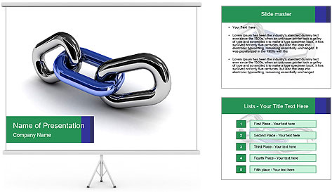 Three Pieces Of Chain PowerPoint Template