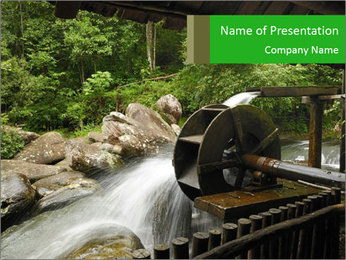 Beautiful Water Cascade PowerPoint Template - Slide 1