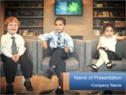 Kids Playing Politicians PowerPoint Template