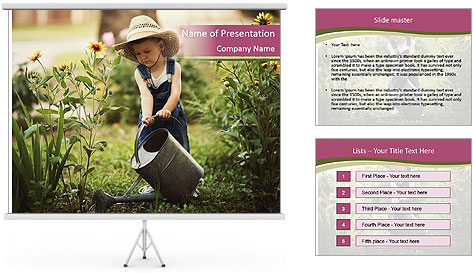 Small Girl Gardening PowerPoint Template