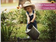 Small Girl Gardening PowerPoint Templates