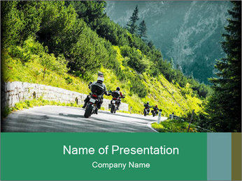 Bikers On Extreme Road PowerPoint Template - Slide 1