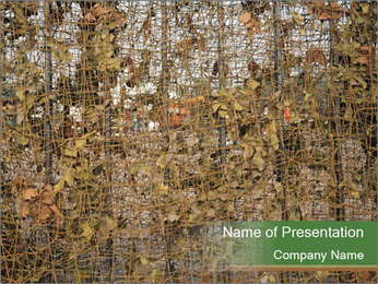 Forest Military Camouflage Fence PowerPoint Template - Slide 1