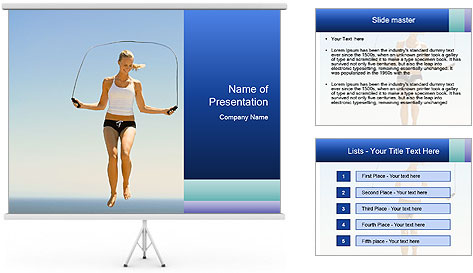 Woman Jumping With Rope PowerPoint Template