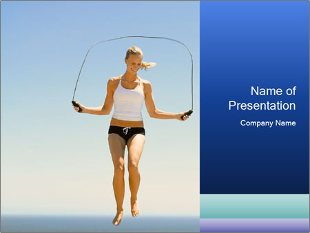 Woman Jumping With Rope PowerPoint Templates