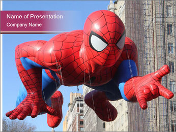 Spiderman At Parade PowerPoint Template - Slide 1