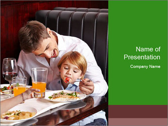 Father Feeding Child PowerPoint Template - Slide 1