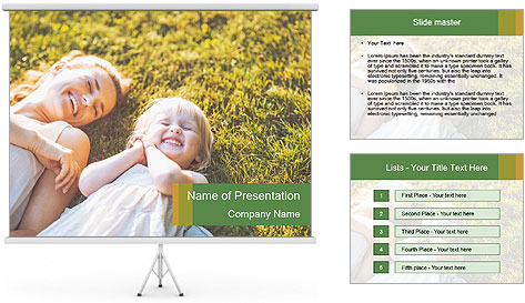 Mother And Daughter Laughting Together PowerPoint Template