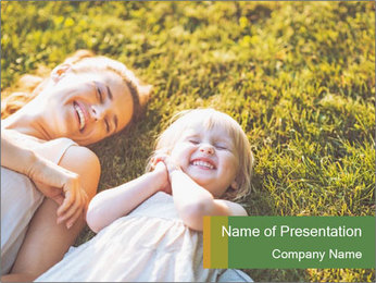 Mother And Daughter Laughting Together PowerPoint Template - Slide 1