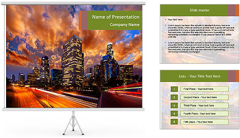 Dramatic Sunset In LA PowerPoint Template