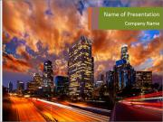 Dramatic Sunset In LA PowerPoint Templates