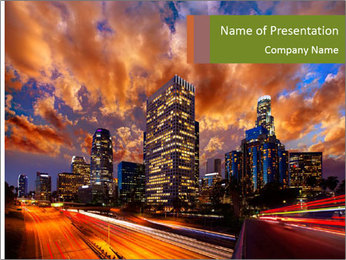 Dramatic Sunset In LA PowerPoint Template - Slide 1