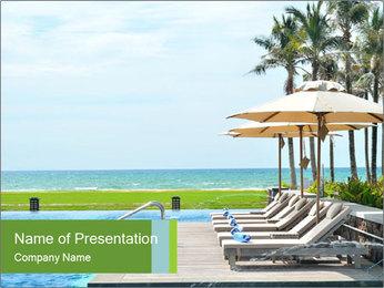 Sunbed Near Pool PowerPoint Template - Slide 1