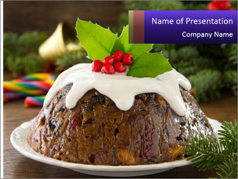 Christmas Chocolate Pudding PowerPoint Template - Slide 1