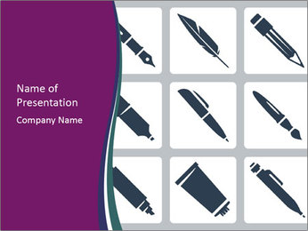Collection Of Pen PowerPoint Template - Slide 1