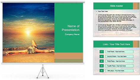 Woman Taking Sun Bath PowerPoint Template
