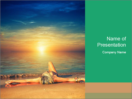 Woman Taking Sun Bath PowerPoint Template